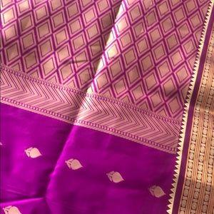 Other - Jewel tone green and magenta Saree fabric
